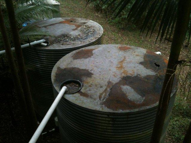 A steel tank slowly rusting